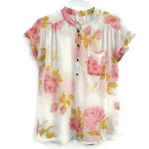 Quicksilver Floral White and Pink Rose Sheer Henley Blouse Cap Sleeve Size SP